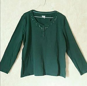 Hunter green long sleeve sequined top size XL